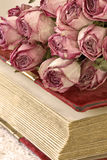 Bouquet of dried roses on the old book Royalty Free Stock Images