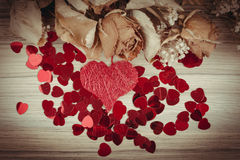 Bouquet of dried roses and red box, valentine Royalty Free Stock Photo