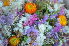 A bouquet of dried wildflowers. Close-up background. Stock Photo