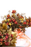 Bouquet of dried withered roses on white background Royalty Free Stock Photo
