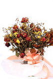Bouquet of dried withered roses on white background Royalty Free Stock Images