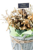Bouquet of dry flower with happy birth day label Stock Photography