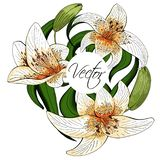 Bouquet lily tiger type realistic flowers vector clipart stock illustration