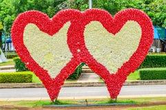 Bouquet en forme de coeur de blanc dans les roses rouges avec le champ Images stock
