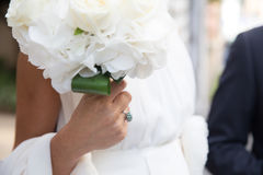 Bouquet and engagement ring Stock Image
