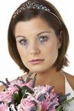 Bouquet et pleurer de fixation de mariée photo stock
