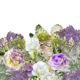 Bouquet of Eustoma Lisianthus flowers and ornamental cabbage -. Floral border with bouquet of purple with white Eustoma Lisianthus flowers and ornamental cabbage Royalty Free Stock Images