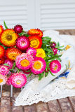 Bouquet of Everlasting flowers on table Royalty Free Stock Photos