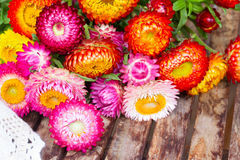 Bouquet of Everlasting flowers on table Stock Photo