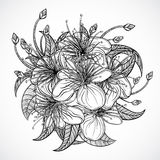 Bouquet of exotic flowers.Black and white tropical flowers and leaves.  elements. Vintage hand drawn vector illustration Royalty Free Stock Photo