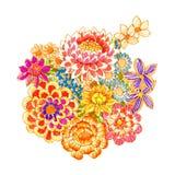 Bouquet of fancy flowers. Felt-tip pen Stock Photos