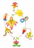 Bouquet of fancy flowers. Bunch of fancy flowers, felt-tip pen Royalty Free Stock Photography