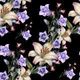 Bouquet Field Flowers of Watercolor. Handiwork Seamless Pattern on a Black Background. Field  Bell Flower Lily Watercolor Floral  Seamless Pattern Illustration Stock Image