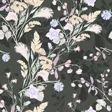 Bouquet field flowers of watercolor. Monochrome floral seamless pattern on a black background. Watercolor field flowers bouquet black background handiwork Royalty Free Stock Image