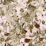 Bouquet field flowers of watercolor. Monochrome floral seamless pattern on a light background. Watercolor field flowers bouquet  light background handiwork Stock Photos
