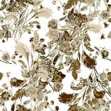 Bouquet field flowers of watercolor. Monochrome floral seamless pattern on a white background. Watercolor field flowers bouquet  white background handiwork Royalty Free Stock Image