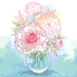 Bouquet with five ornate peony flower and leaves in the round transparent vase on the textured background with blots.l Stock Photo