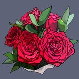 Bouquet of five red roses with green leaves Stock Images