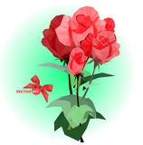 Bouquet of five red roses with stems and leaves on a green blurred background. Stock Image
