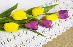 Bouquet from five yellow and purple tulips Stock Images