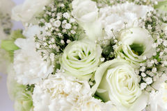 Bouquet Floral arrangement white roses carnation and gypsophila paniculata