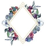 Bouquet floral flower. Watercolor background illustration set. Watercolour drawing. Frame border ornament square. Bouquet floral botanical flower. Wild spring royalty free stock image