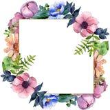 Bouquet floral botanical flowers. Watercolor background illustration set. Frame border ornament square. Bouquet floral botanical flowers. Wild spring leaf stock illustration