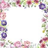 Bouquet floral botanical flowers. Watercolor background illustration set. Frame border ornament square.