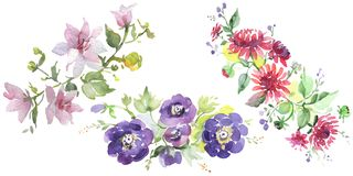 Bouquet floral botanical flowers. Watercolor background illustration set. Isolated bouquets illustration element.