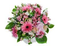 Bouquet floral coloré des roses, des lis et des orchidées d'isolement Images stock