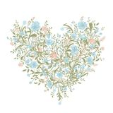 Bouquet floral d'amour pour votre conception, forme de coeur Photo stock