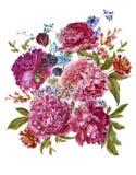 Bouquet floral d'aquarelle avec des pivoines de Bourgogne dedans illustration de vecteur