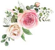 Bouquet floral d'aquarelle avec les roses et l'eucalyptus illustration libre de droits
