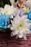 Bouquet floral dans un panier en osier Images stock