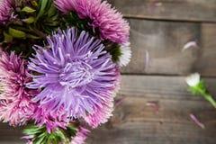 Bouquet floral de beauté de vue supérieure avec les asters colorés, la carte de voeux blanche vierge et l'enveloppe de papier de  Photographie stock libre de droits