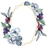 Bouquet floral flower. Watercolor background illustration set. Watercolour drawing. Frame border ornament square. Bouquet floral botanical flower. Wild spring royalty free stock photography