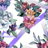 Bouquet floral flower. Watercolor illustration. Watercolour seamless background pattern. Fabric wallpaper print texture. Bouquet floral botanical flower royalty free stock images