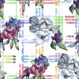 Bouquet floral flower. Watercolor illustration. Watercolour seamless background pattern. Fabric wallpaper print texture. Bouquet floral botanical flower stock illustration