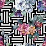 Bouquet floral flower. Watercolor illustration. Watercolour seamless background pattern. Fabric wallpaper print texture. Bouquet floral botanical flower stock photo