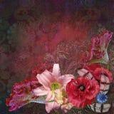 Bouquet on floral pattern dark red background. Bouquet on pattern dark red background Stock Photography