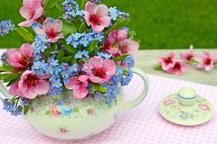 Bouquet in floral sugar bowl Stock Image