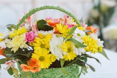 Bouquet flower in basket Royalty Free Stock Photography