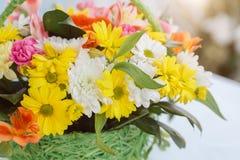 Bouquet flower in basket Stock Photo