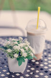 Bouquet of flower of ice coffee on  table. Stock Photography