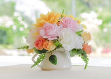 Bouquet flower on vase Royalty Free Stock Images