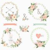 Bouquet Flower Wreath Set Stock Image