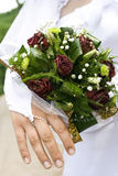 Bouquet of flowers. Held by a bride Royalty Free Stock Image