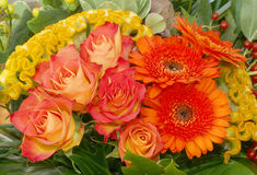 Bouquet flowers. Bouquet with orange,red and yellow flowers Stock Images