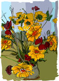 Bouquet of flowers. Painting illustration of flowers Royalty Free Stock Photography