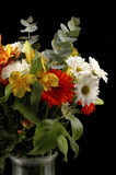 Bouquet of Flowers. Beautiful arrangement of colorful flowers on a black background Stock Images